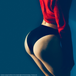 Fitnessgirl in schwarzer Unterwäsche Bildquelle: buttocks sexy girl athlete in the shadow light © Porechenskaya / Fotolia.com