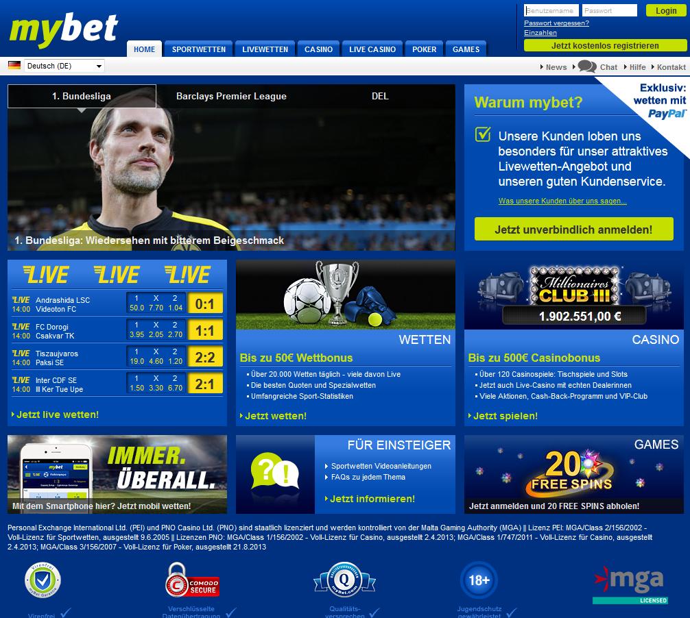 Sportwettenanbieter Mybet Startseite