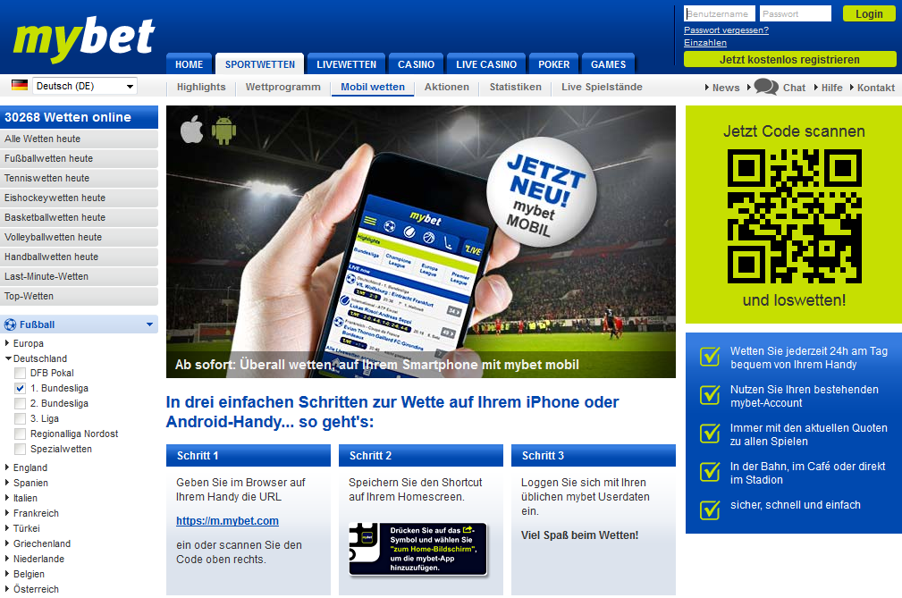 Sportwettenanbieter Mybet mobile