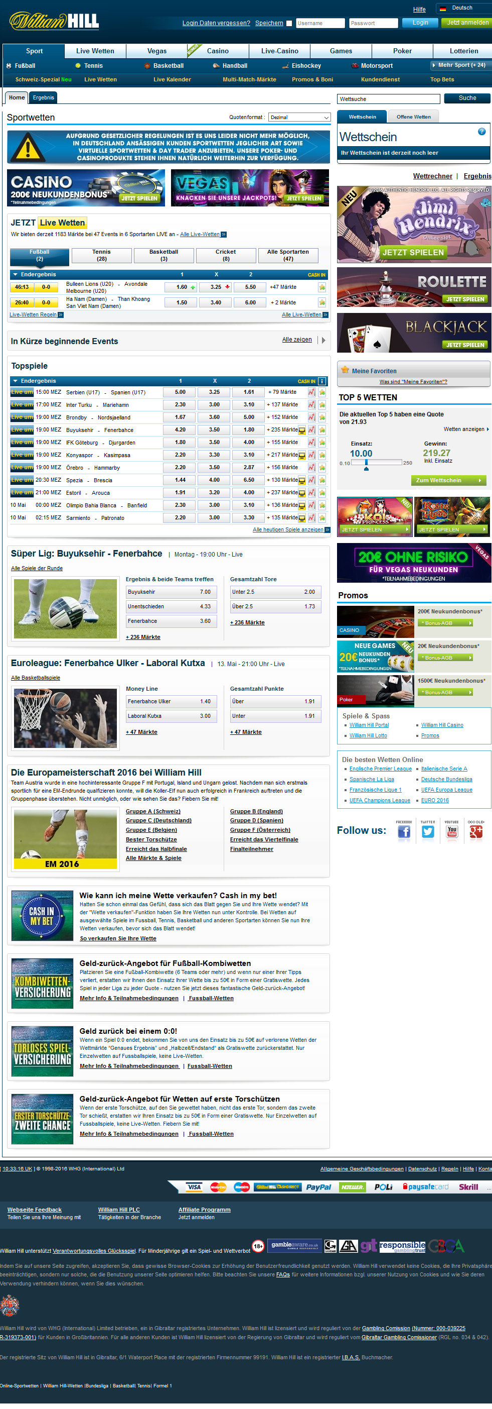 William Hill Webseite