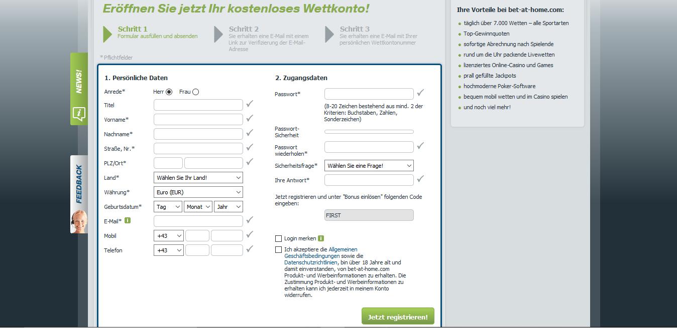 Registrierung bei bet-at-home. Der Neukundenbonus kann nach den persönlichen Angaben durch einen Code angefordert werden.