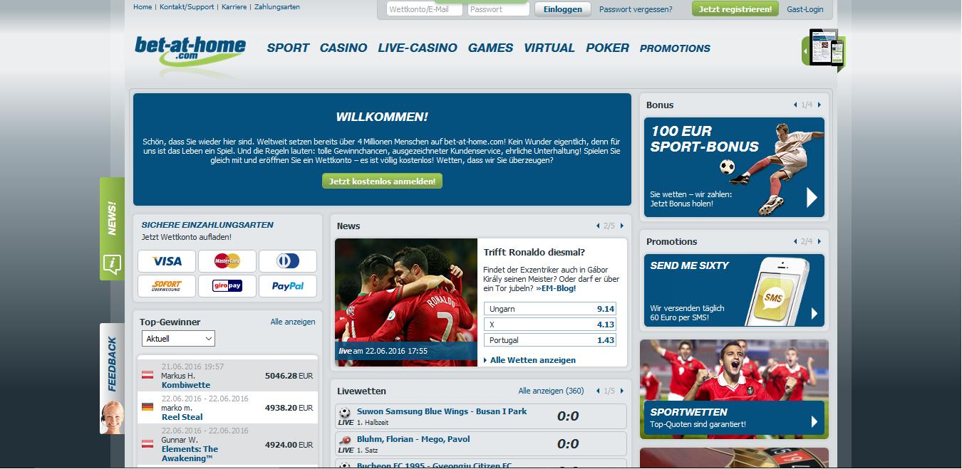 Bet-at-home Startseite mit Hinweisen auf Bonusangebote und verschiedene Livewetten.