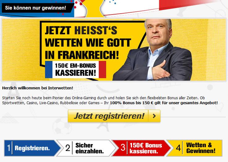 Neukunden erhalten bei Interwetten einen 150 Euro EM-Bonus