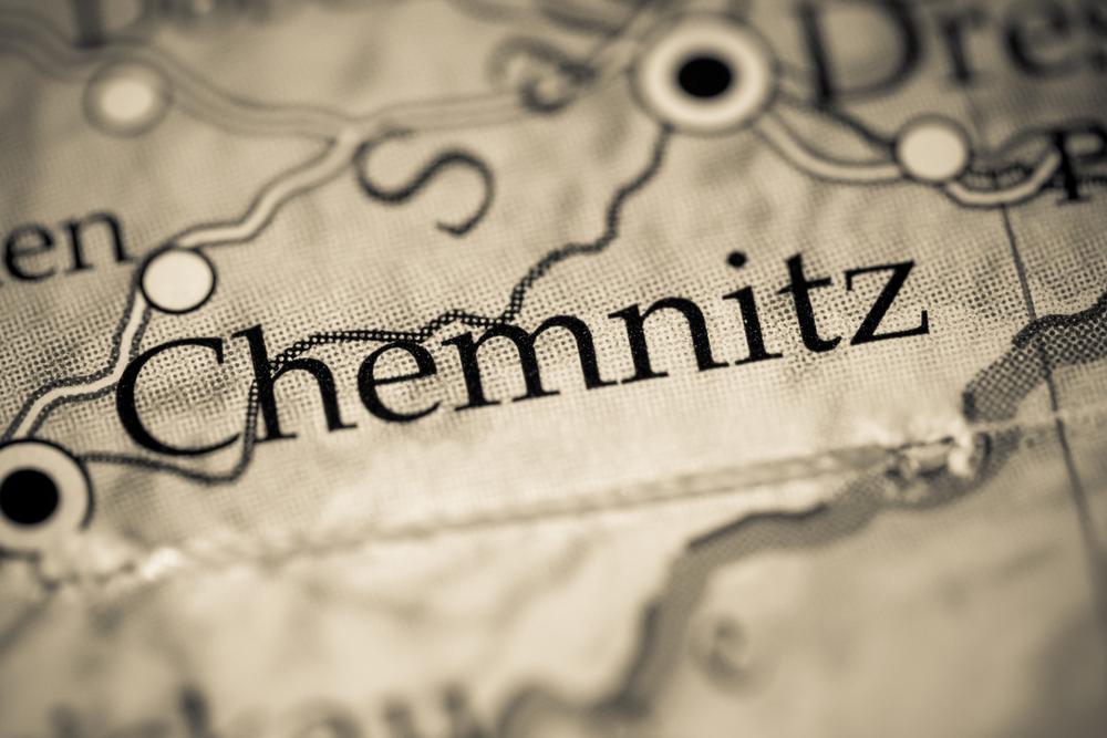 Chemnitz auf einem Ausschnitt einer Landkarte in der Farbe Grau.